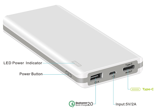 Type-C and Qualcomm QC in one power bank