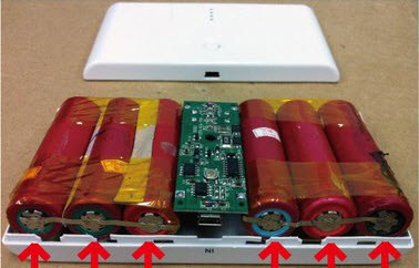 Typical recycled battery power bank